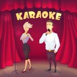 有白肤金发的女孩唱歌卡拉OK演唱的肌肉人在场面 动画片样式 图库摄影