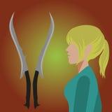 有白肤金发的马尾辫的矮子女孩在外形,在附近是她的剑 免版税库存照片