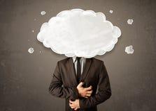 有白色云彩的商人在他的顶头概念 免版税库存照片