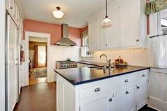 有白色内阁、花岗岩桌面和硬木地板的经典厨房室 免版税图库摄影
