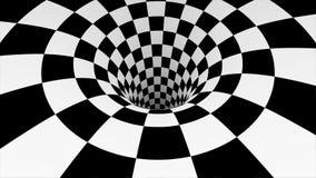 有白色和黑角规的生气蓬勃的催眠隧道 镶边错觉三维几何蠕虫孔 库存例证