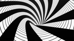 有白色和黑角规的生气蓬勃的催眠隧道 镶边错觉三维几何蠕虫孔 皇族释放例证