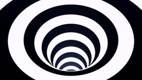 有白色和黑角规的生气蓬勃的催眠隧道 镶边错觉三维几何蠕虫孔 向量例证