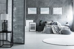 有白色地毯的黑暗的卧室 库存照片