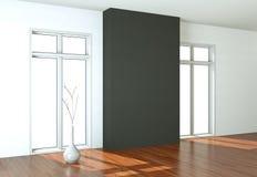 有白色墙壁、窗口和木条地板的空的室 图库摄影