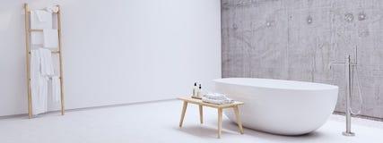 有白色墙壁的新的现代禅宗卫生间 3d翻译 免版税库存图片