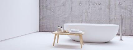 有白色墙壁的新的现代禅宗卫生间 3d翻译 库存图片