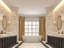 有白色大理石墙壁和地板的3d豪华卫生间回报 皇族释放例证