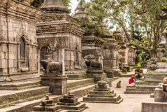 有白色小寺庙的墙壁在Pashupatinath寺庙附近 加德满都,尼泊尔,亚洲 免版税库存图片