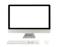 有白色屏幕的台式计算机 免版税库存图片