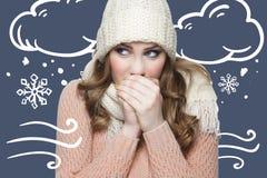 有白色帽子和围巾的女孩在毛线衣冬时concelt 免版税库存图片