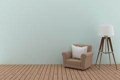 有白色枕头的唯一沙发和灯在3D的屋子里回报图象 免版税库存图片