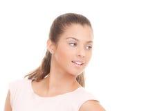 有白色牙和至善至美的脸色的少妇 免版税库存照片