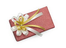 有白色的红色礼物盒和金丝带鞠躬 免版税库存照片