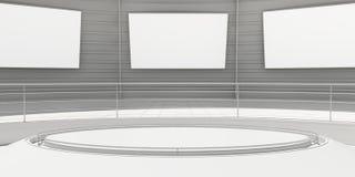 有白色盘区的空的现代未来派室 向量例证
