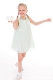 有白色空白的快乐的小女孩 免版税图库摄影