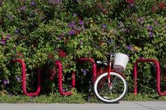 有白色篮子的红色自行车 库存图片