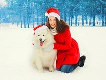 有白色萨莫耶特人狗的圣诞节妇女在圣诞老人红色帽子在冬天 免版税库存照片
