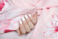 有白色钉子设计的美好的女性手 免版税库存照片