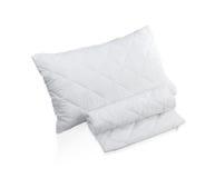 有白色防护小蜘蛛枕头盒的枕头 免版税库存照片