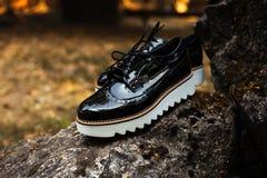 有白色鞋底的黑发光的漆革妇女` s方鞋子在老灰色石头在森林或公园里 免版税库存图片