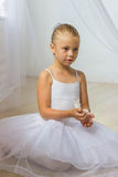 有白色鸟的小逗人喜爱的芭蕾舞女演员 库存图片