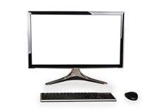 有白色黑屏的台式计算机和键盘和老鼠 库存图片
