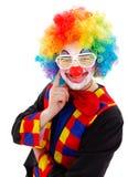 有白色滑稽的快门的小丑遮蔽太阳镜 免版税库存照片