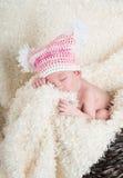 戴有白色pom poms的美丽的新出生的婴孩一个桃红色帽子 免版税图库摄影