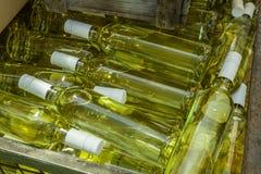 有白葡萄酒瓶的储藏盒 免版税图库摄影