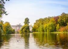 有白金汉宫的圣詹姆斯公园在背景中 免版税库存照片