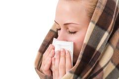 有的一名妇女冷的症状 库存图片