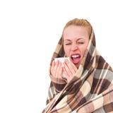 有的一名妇女冷的症状 图库摄影