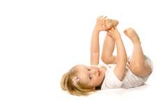 有的乐趣她的脚趾 免版税库存照片