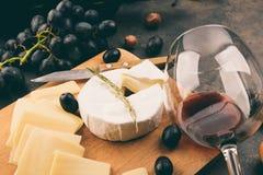 有的乳酪盛肉盘葡萄 免版税库存照片