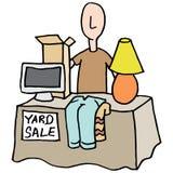 有的人庭院旧货出售 库存例证