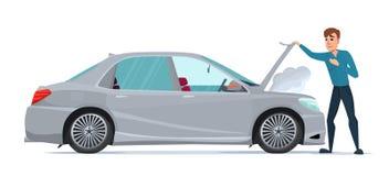 有的人汽车麻烦 中止汽车 车补救 皇族释放例证