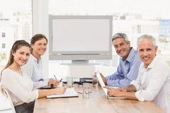 有的商业会议人微笑 免版税图库摄影