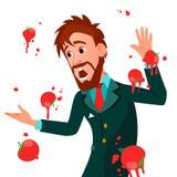 有的商人蕃茄失败讲话传染媒介 不成功的介绍 坏公开讲话 有欧洲的人 免版税图库摄影