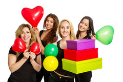 有的女孩与baloons的一个党 库存照片