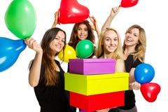 有的女孩与baloons的一个党 免版税图库摄影