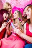 有的妇女与性玩具的bachelorette党 免版税库存图片