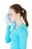 有的妇女可怕的牙疼痛。 免版税库存图片