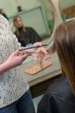 有的妇女头发被剪在美发师 免版税库存照片