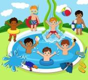 有的孩子的例证池边聚会 免版税库存照片