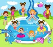 有的孩子的例证池边聚会 库存图片