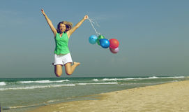 有的美丽的女孩气球 免版税库存图片