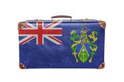 有皮特凯恩群岛旗子的葡萄酒手提箱 库存图片