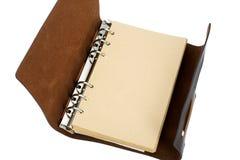 有皮革盖子的被回收的纸笔记本 库存照片