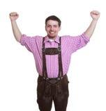有皮革裤子的欢呼的巴法力亚人 免版税库存照片